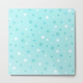 AFE Turquoise Snowflakes Metal Print