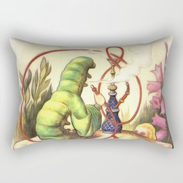 Alice & The Hookah Smoking Caterpillar - Alice In Wonderland Rectangular Pillow