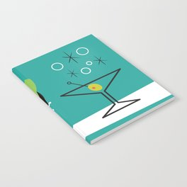1950s Swank Mid Century Modern Martini Cocktail Kitty Cat Notebook