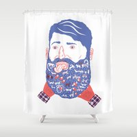 beard Shower Curtains featuring Animals in Beard by David Penela