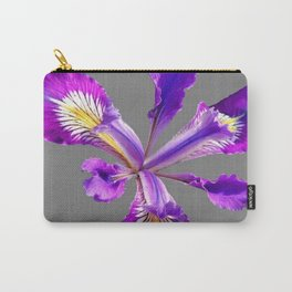 PURPLE DUTCH IRIS FLOWER GREY  DESIGN Carry-All Pouch