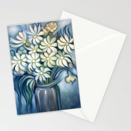 """""""Retro Vintage Bouquet of White and Blue Flowers"""" Stationery Cards"""