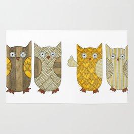 4 Gold Owls Rug