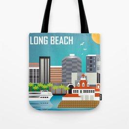 Long Beach, California - Skyline Illustration by Loose Petals Tote Bag