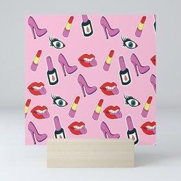 Modern pink red girly fashion make up pattern Mini Art Print