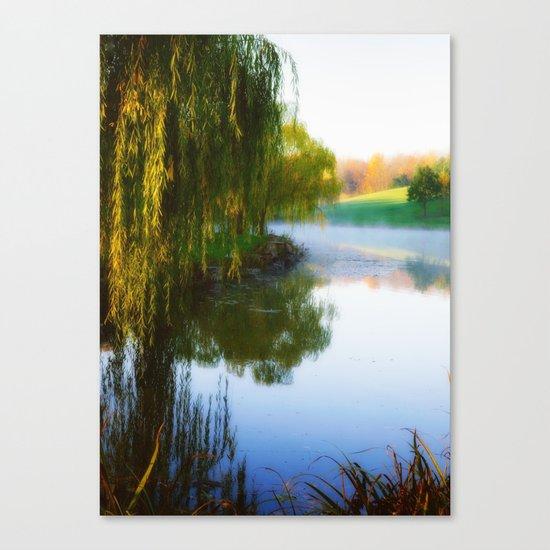 Morning mist on Schnormeier pond Canvas Print