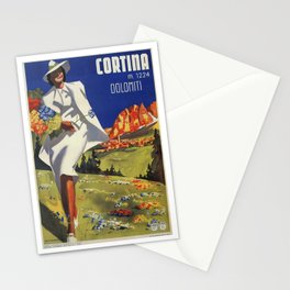 Vintage Italian Alps Cortina summer travel Stationery Cards