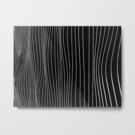 Strings, white lines on black pattern Metal Print