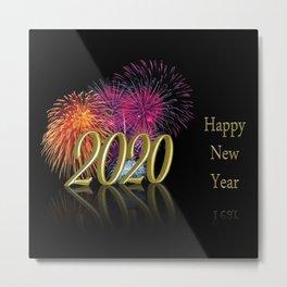 Gold 2020 Happy New Year Fireworks Metal Print