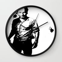 rick grimes Wall Clocks featuring Rick Grimes by Black And White Store