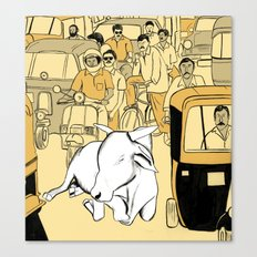 Cow in the Streets Canvas Print