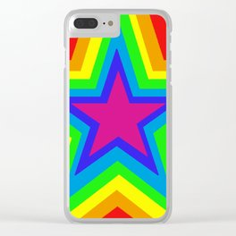 Bright Hypnotic Rainbow Pride Star Clear iPhone Case
