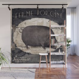 Vintage French Farm Sign Pig Wall Mural