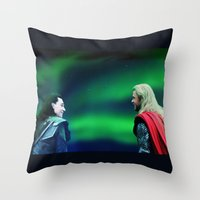 northern lights Throw Pillows featuring Northern Lights by LindaMarieAnson