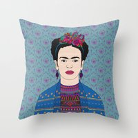 frida kahlo Throw Pillows featuring Frida Kahlo by Bianca Green