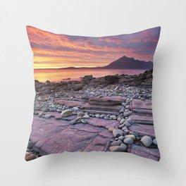 III - Spectacular sunset at the Elgol beach, Isle of Skye, Scotland Throw Pillow