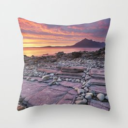 III - Spectacular sunset at the Elgol beach, Isle of Skye, Scotland Throw Pillow