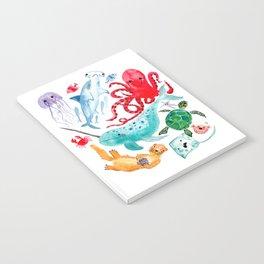 Ocean Creatures - Sea Animals Characters - Watercolor Notebook