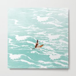 Out on the waves Metal Print