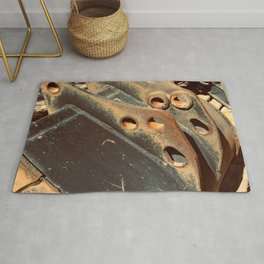 Rusted Abandoned Metal Machine Part Rug
