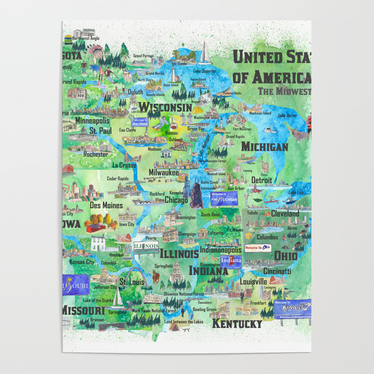 USA Midwest States Travel Map MN WI MI IA KY IL IN OH MO With_Highlights  Poster by artshop77