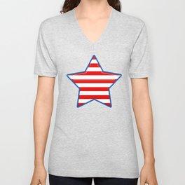 Patriotic Star Blue Border Red and White Stripes Unisex V-Neck