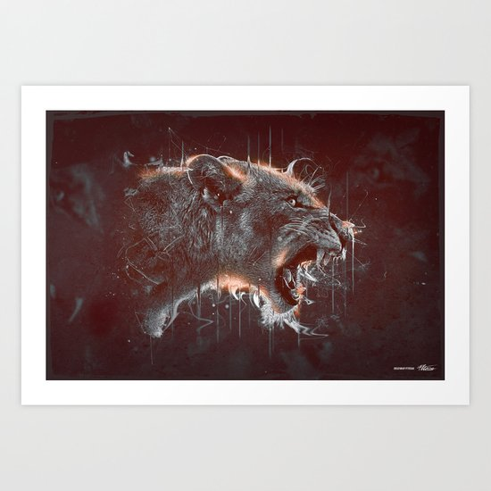 DARK LION Art Print