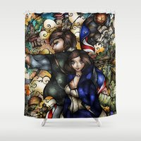 bioshock Shower Curtains featuring Put Your Faith In Her by Mandie Manzano