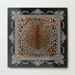 Baroque Leopard Scarf Metal Print