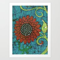Kate's Flower Batik Art Print