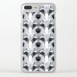 Schnauzer pattern-Grey Dog illustration original painting print Clear iPhone Case