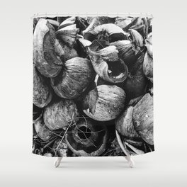 Coconut Shell Black and White Shower Curtain
