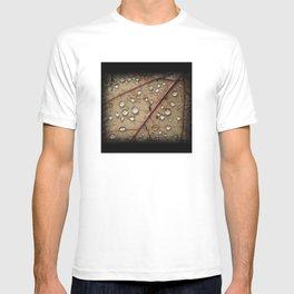 A Close Up Of A Wet Leaf T-shirt