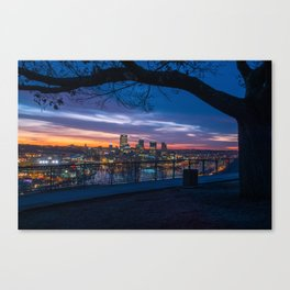 West End Sunrise Framed by Tree Canvas Print