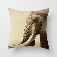cross Throw Pillows featuring Old Friend by Eric Fan