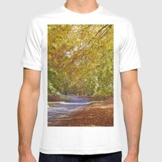 Remote country road through Autumnal woodland. Norfolk, UK. Mens Fitted Tee White MEDIUM