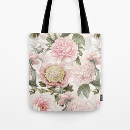 Vintage & Shabby Chic - Antique Pink Peony Flowers Garden Tote Bag