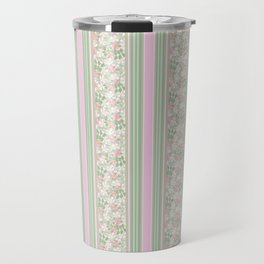 Pink Dogroses on Taupe in Stripes Travel Mug