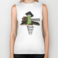 bookworm Biker Tanks featuring Cute bookworm by nicky2342
