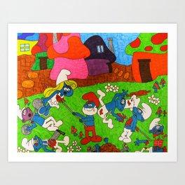 Mature Smurfs Art Print