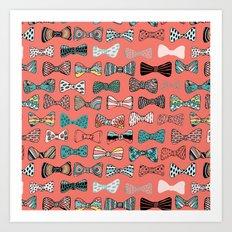 Bow tie geek in pink Art Print