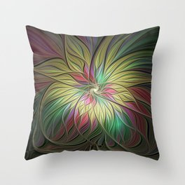 Flourish, Colorful Abstract Fractal Art Throw Pillow