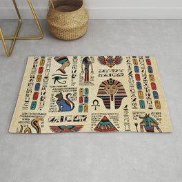 Egyptian hieroglyphs and deities on papyrus Rug