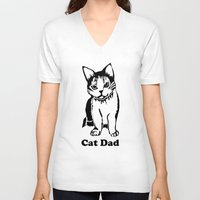 dad V-neck T-shirts featuring Cat Dad by Artist Abigail
