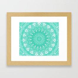Minimal Aqua Seafoam Mint Green Mandala Simple Minimalistic Framed Art Print