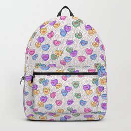 Feminist Valentine Candy Hearts in White and Rainbow, No Wifey Backpack