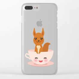 Cute Kawai pink cup with red squirrel Clear iPhone Case