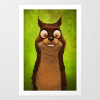 squirrel Art Prints featuring Squirrel by Tatyana Adzhaliyska