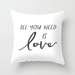 All You Need Is Love Beetles Song Quote Digital Wall For Gift and Office Decor Throw Pillow