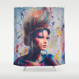 Young woman muse with creative body art and hairdo (9) Shower Curtain